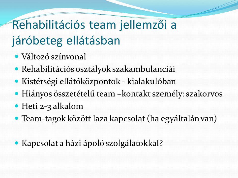 Rehabilitációs team jellemzői a járóbeteg ellátásban  Változó színvonal  Rehabilitációs osztályok szakambulanciái  Kistérségi ellátóközpontok - kia