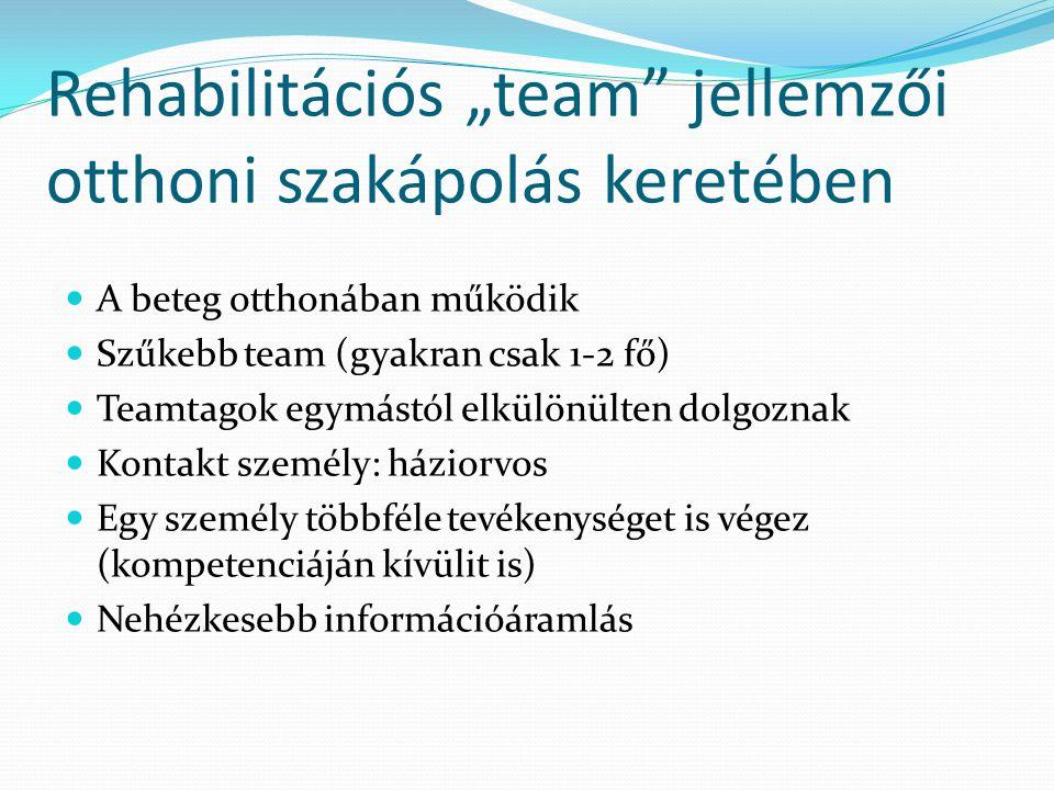 """Rehabilitációs """"team"""" jellemzői otthoni szakápolás keretében  A beteg otthonában működik  Szűkebb team (gyakran csak 1-2 fő)  Teamtagok egymástól e"""