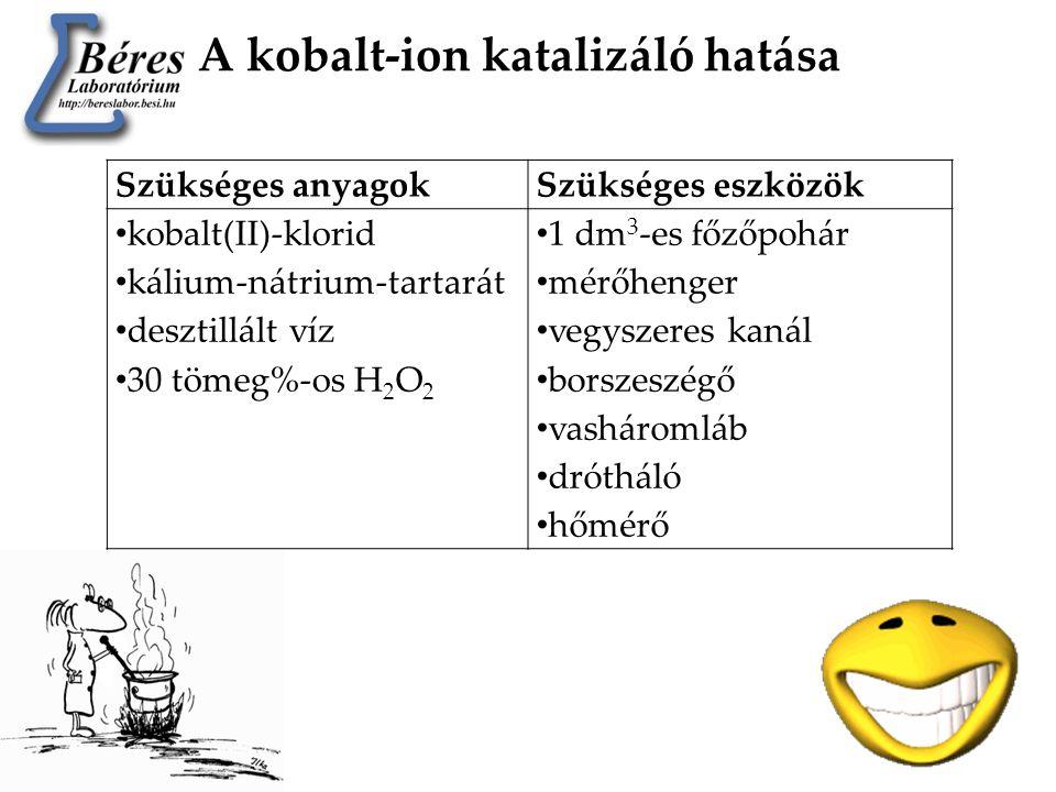 A kobalt-ion katalizáló hatása Szükséges anyagokSzükséges eszközök • kobalt(II)-klorid • kálium-nátrium-tartarát • desztillált víz • 30 tömeg%-os H 2