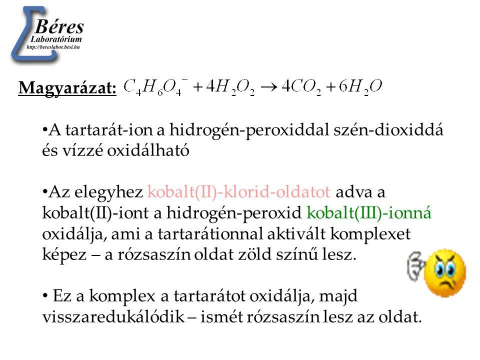 Magyarázat: • A tartarát-ion a hidrogén-peroxiddal szén-dioxiddá és vízzé oxidálható • Az elegyhez kobalt(II)-klorid-oldatot adva a kobalt(II)-iont a