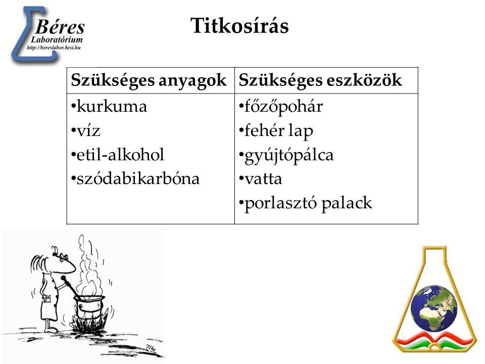 Kísérlet leírása: • 10 cm 3 etil-alkoholt keverj össze 10 cm 3 vízzel.