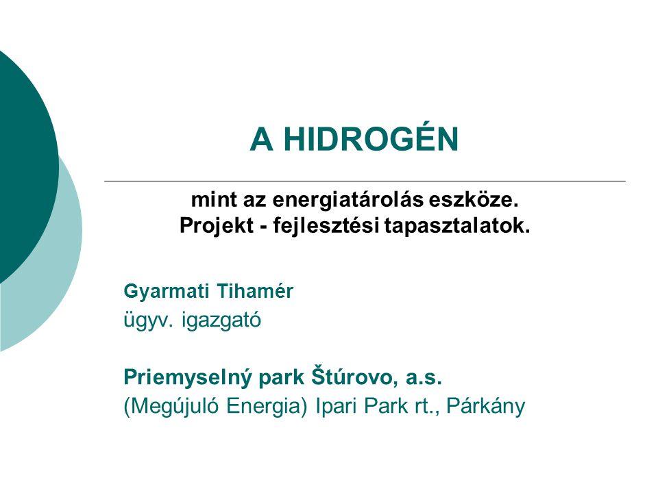 A HIDROGÉN mint az energiatárolás eszköze. Projekt - fejlesztési tapasztalatok. Gyarmati Tihamér ügyv. igazgató Priemyselný park Štúrovo, a.s. (Megúju