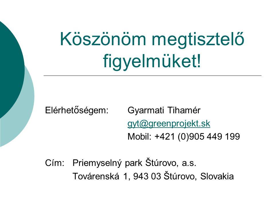 Köszönöm megtisztelő figyelmüket! Elérhet ő ségem:Gyarmati Tihamér gyt@greenprojekt.sk Mobil: +421 (0)905 449 199 Cím: Priemyselný park Štúrovo, a.s.
