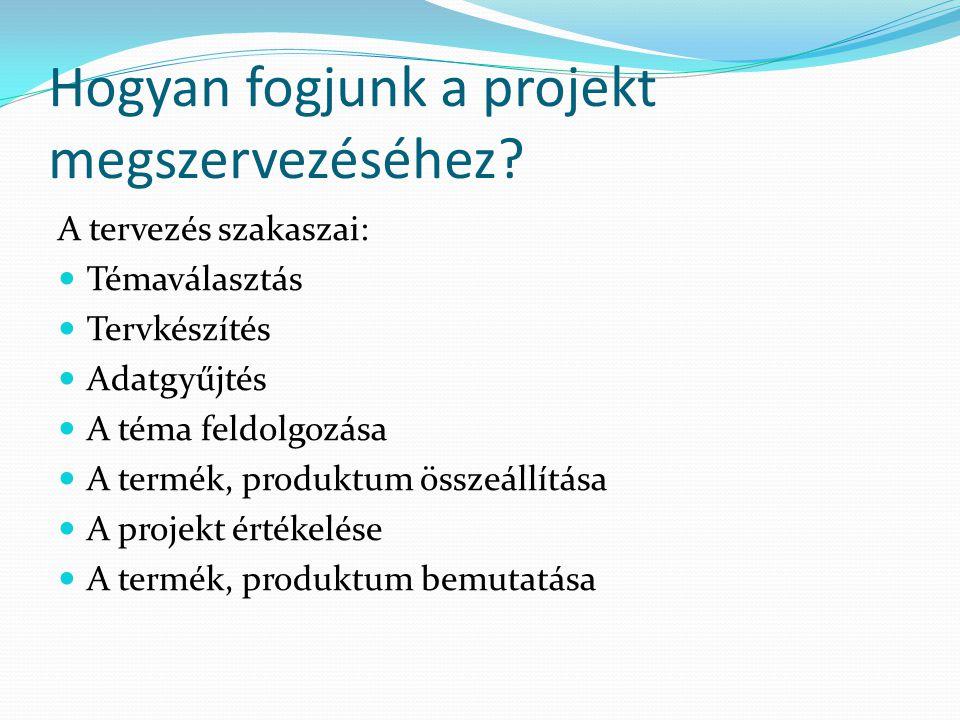 Hogyan fogjunk a projekt megszervezéséhez? A tervezés szakaszai:  Témaválasztás  Tervkészítés  Adatgyűjtés  A téma feldolgozása  A termék, produk