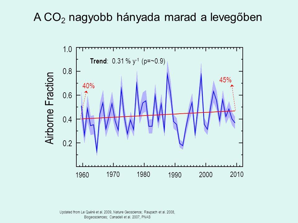 Airborne Fraction A CO 2 nagyobb hányada marad a levegőben Trend : 0.31 % y -1 (p=~0.9) 45% Updated from Le Quéré et al. 2009, Nature Geoscience; Raup