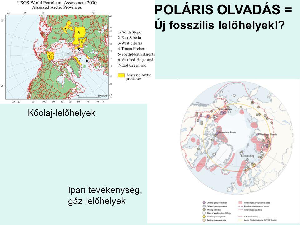 Ipari tevékenység, gáz-lelőhelyek Kőolaj-lelőhelyek POLÁRIS OLVADÁS = Új fosszilis lelőhelyek!?
