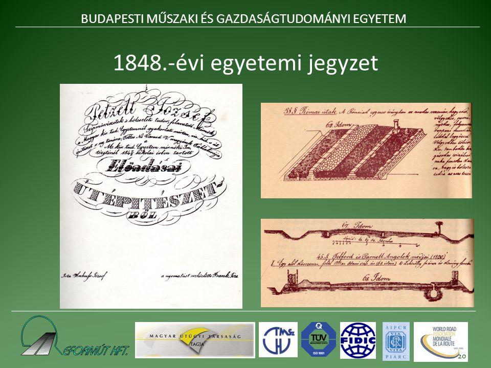 1848.-évi egyetemi jegyzet BUDAPESTI MŰSZAKI ÉS GAZDASÁGTUDOMÁNYI EGYETEM 20