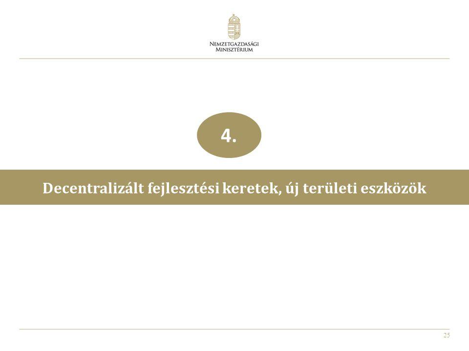 25 Decentralizált fejlesztési keretek, új területi eszközök 4.