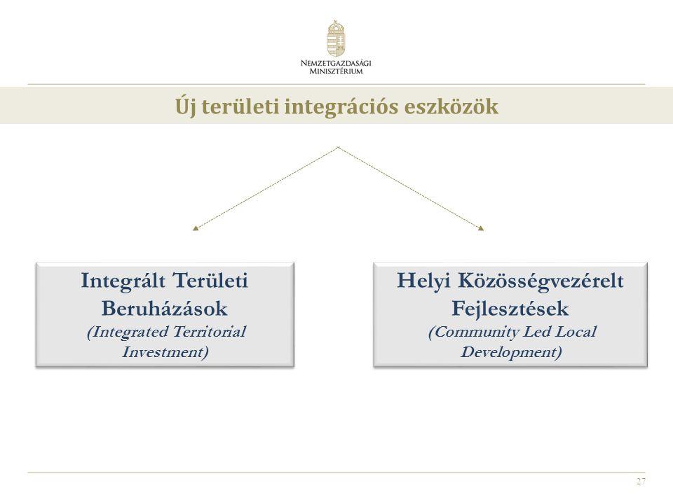 27 Integrált Területi Beruházások (Integrated Territorial Investment) Integrált Területi Beruházások (Integrated Territorial Investment) Helyi Közössé