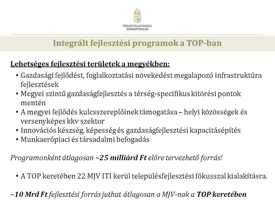 28 Integrált fejlesztési programok a TOP-ban Lehetséges fejlesztési területek a megyékben: • Gazdasági fejlődést, foglalkoztatási növekedést megalapoz