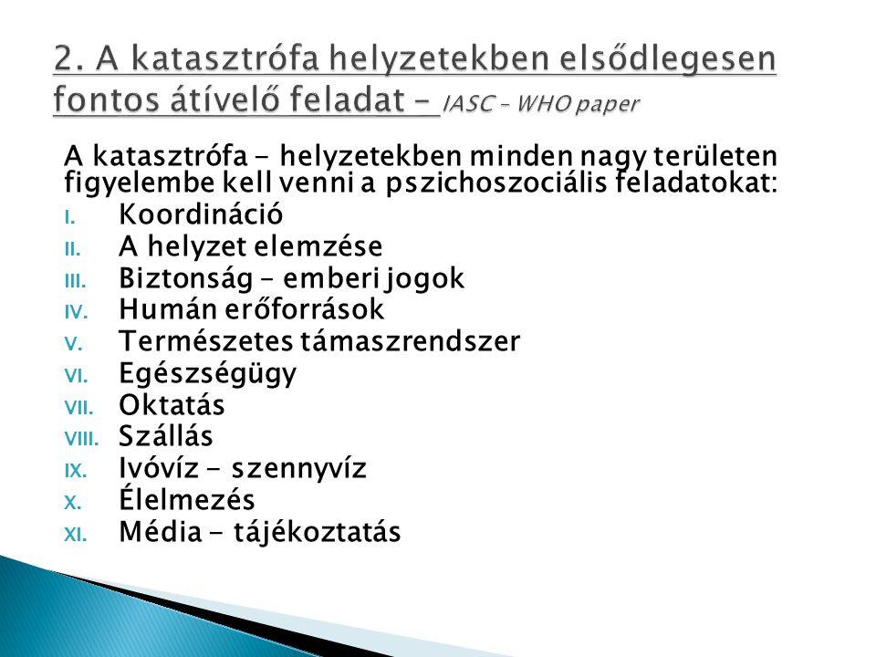 A katasztrófa - helyzetekben minden nagy területen figyelembe kell venni a pszichoszociális feladatokat: I.