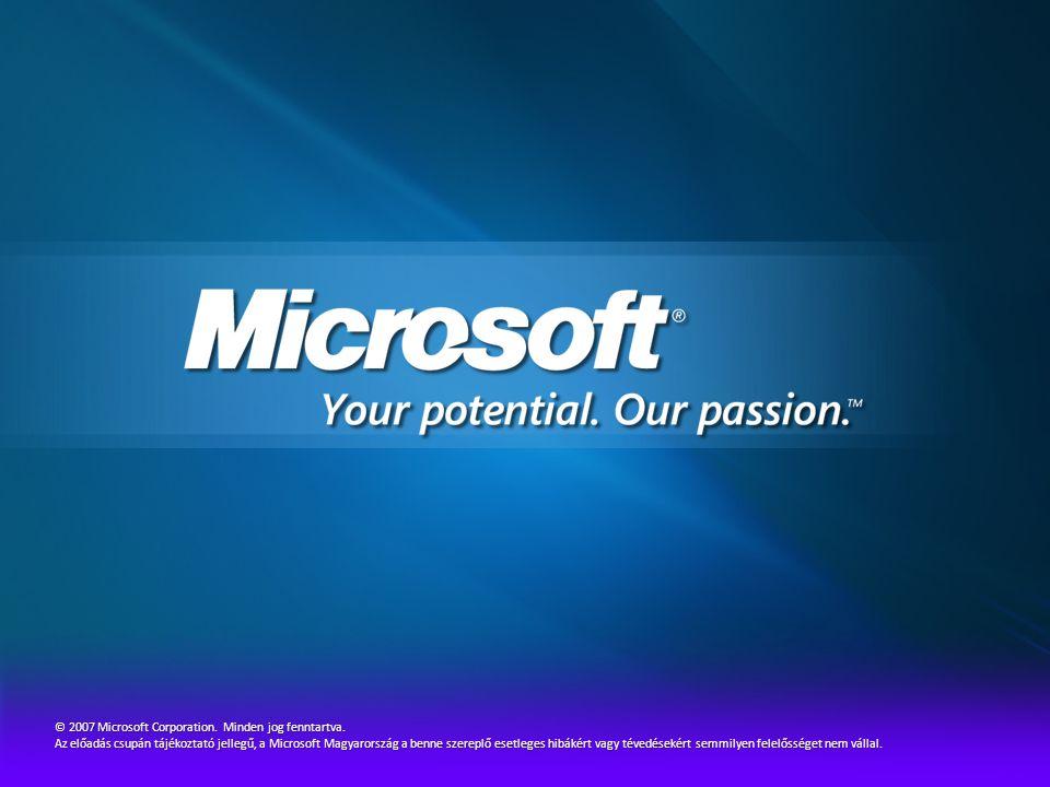 © 2007 Microsoft Corporation. Minden jog fenntartva. Az előadás csupán tájékoztató jellegű, a Microsoft Magyarország a benne szereplő esetleges hibáké