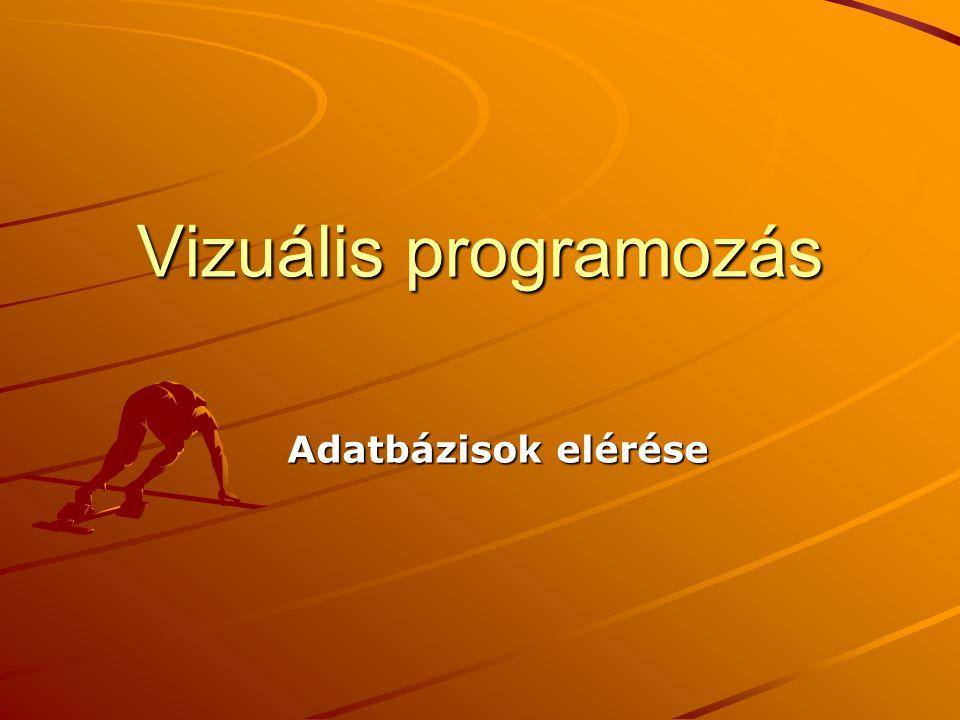 J.Zs.Cs.: Vizuális programozás (c) 2014 2 Adatbázisok elérése 1 Közvetlen elérés - minden adatbázismotorhoz külön függvénygyűjtemény Absztrakciós rétegen keresztül –Open DataBase Connectivity (ODBC), közös függvényhalmaz, amivel minden DB elérhető.