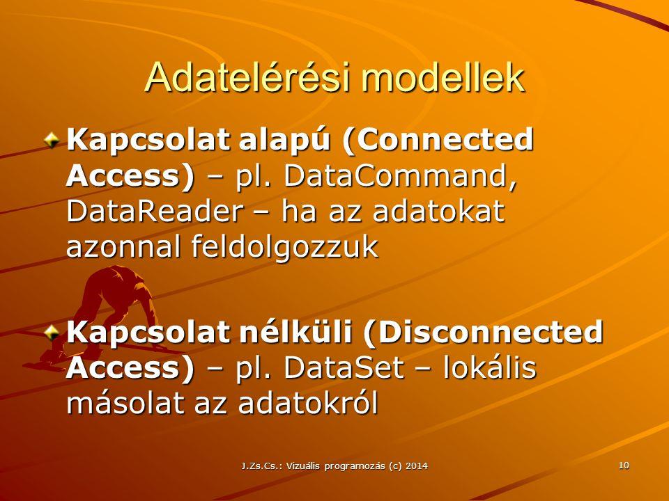 J.Zs.Cs.: Vizuális programozás (c) 2014 10 Adatelérési modellek Kapcsolat alapú (Connected Access) – pl. DataCommand, DataReader – ha az adatokat azon