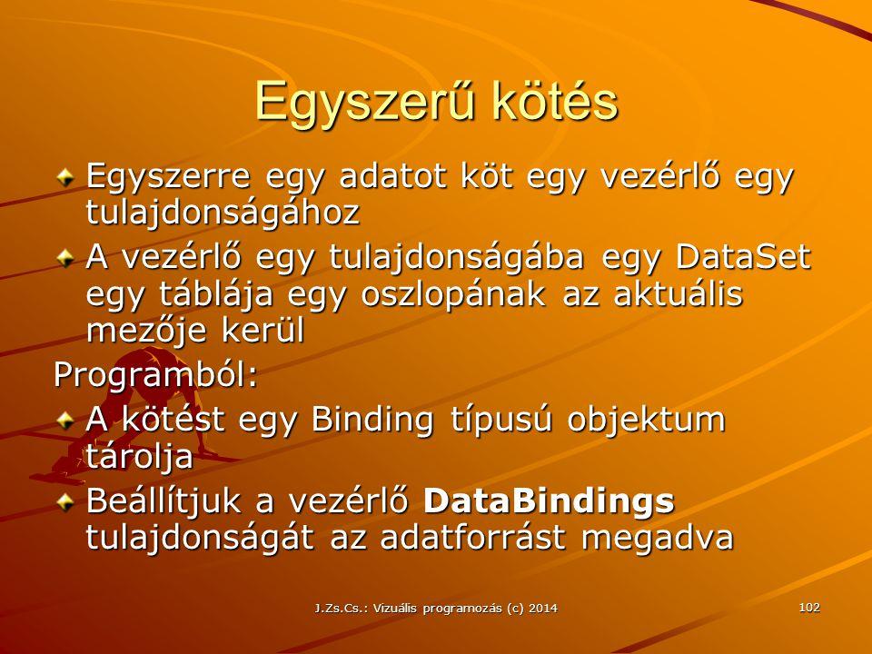 J.Zs.Cs.: Vizuális programozás (c) 2014 102 Egyszerű kötés Egyszerre egy adatot köt egy vezérlő egy tulajdonságához A vezérlő egy tulajdonságába egy D