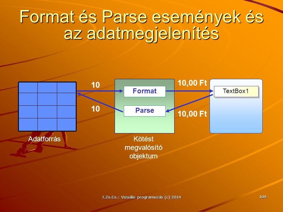 J.Zs.Cs.: Vizuális programozás (c) 2014 109 Format és Parse események és az adatmegjelenítés TextBox1 Format Parse Kötést megvalósító objektum Adatfor