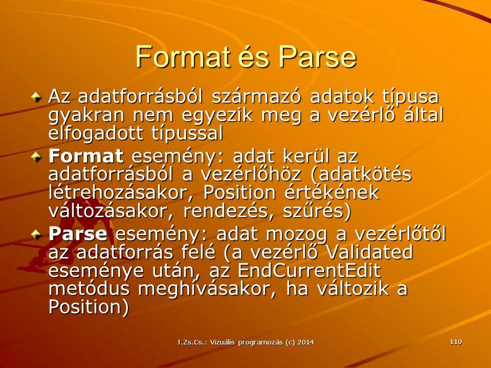 J.Zs.Cs.: Vizuális programozás (c) 2014 110 Format és Parse Az adatforrásból származó adatok típusa gyakran nem egyezik meg a vezérlő által elfogadott
