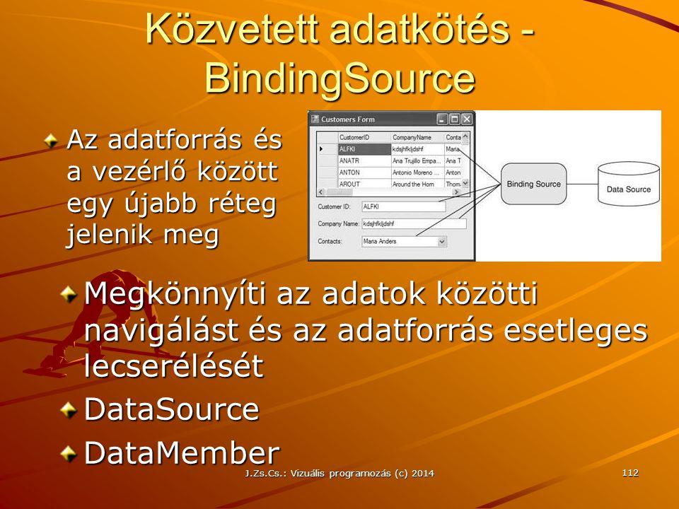 J.Zs.Cs.: Vizuális programozás (c) 2014 112 Közvetett adatkötés - BindingSource Az adatforrás és a vezérlő között egy újabb réteg jelenik meg Megkönny