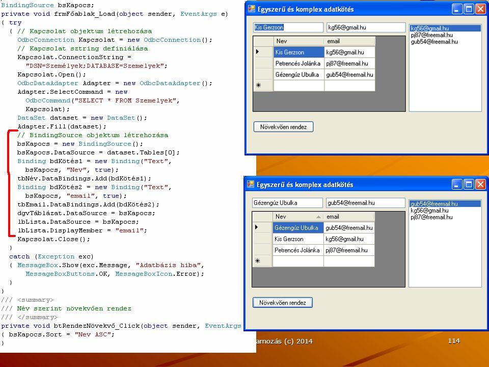 J.Zs.Cs.: Vizuális programozás (c) 2014 114