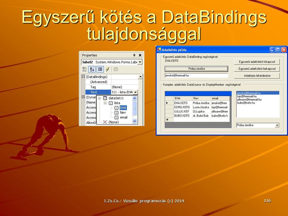 J.Zs.Cs.: Vizuális programozás (c) 2014 116 Egyszerű kötés a DataBindings tulajdonsággal