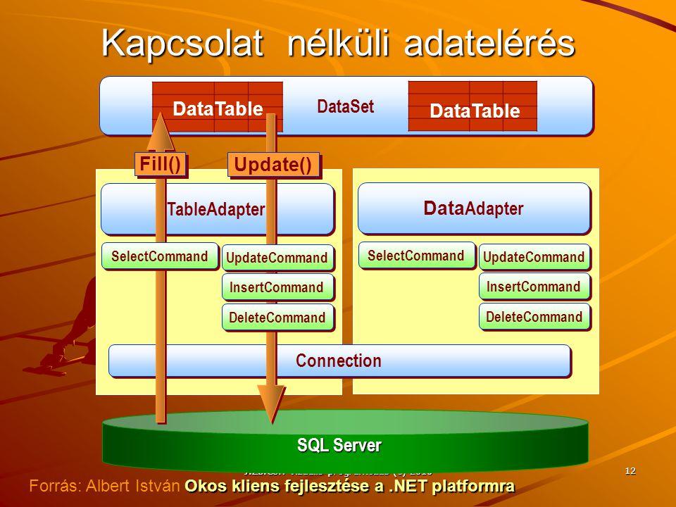 J.Zs.Cs.: Vizuális programozás (c) 2014 J.Zs.Cs.: Vizuális programozás (c) 2010 12 Kapcsolat nélküli adatelérés TableAdapter DataSet SQL Server Data A