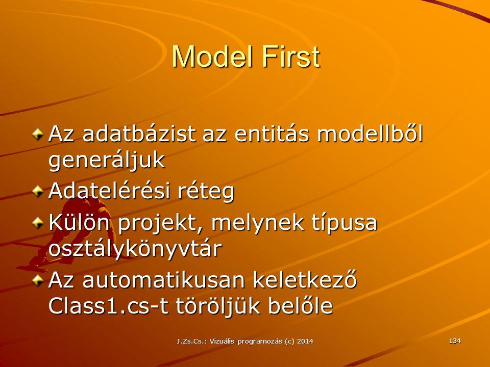Model First Az adatbázist az entitás modellből generáljuk Adatelérési réteg Külön projekt, melynek típusa osztálykönyvtár Az automatikusan keletkező C