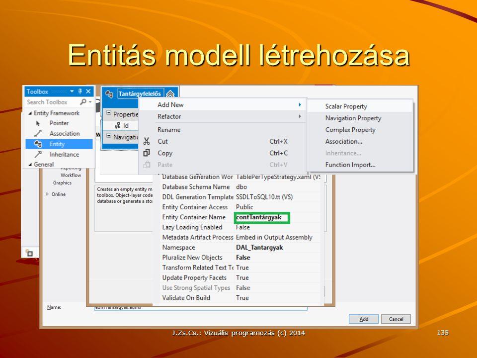Entitás modell létrehozása J.Zs.Cs.: Vizuális programozás (c) 2014 135