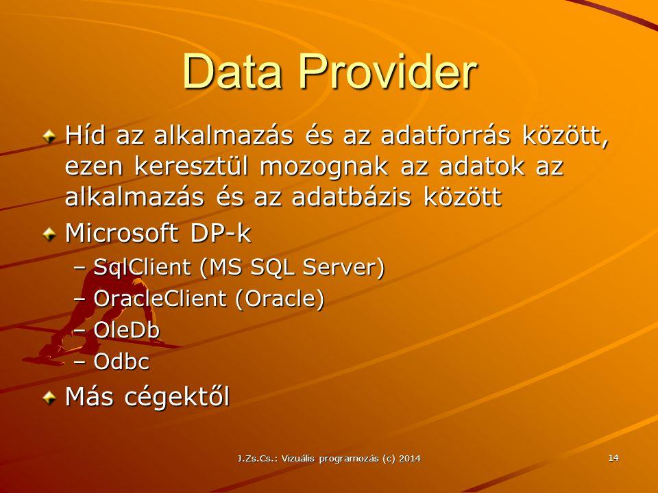 J.Zs.Cs.: Vizuális programozás (c) 2014 14 Data Provider Híd az alkalmazás és az adatforrás között, ezen keresztül mozognak az adatok az alkalmazás és