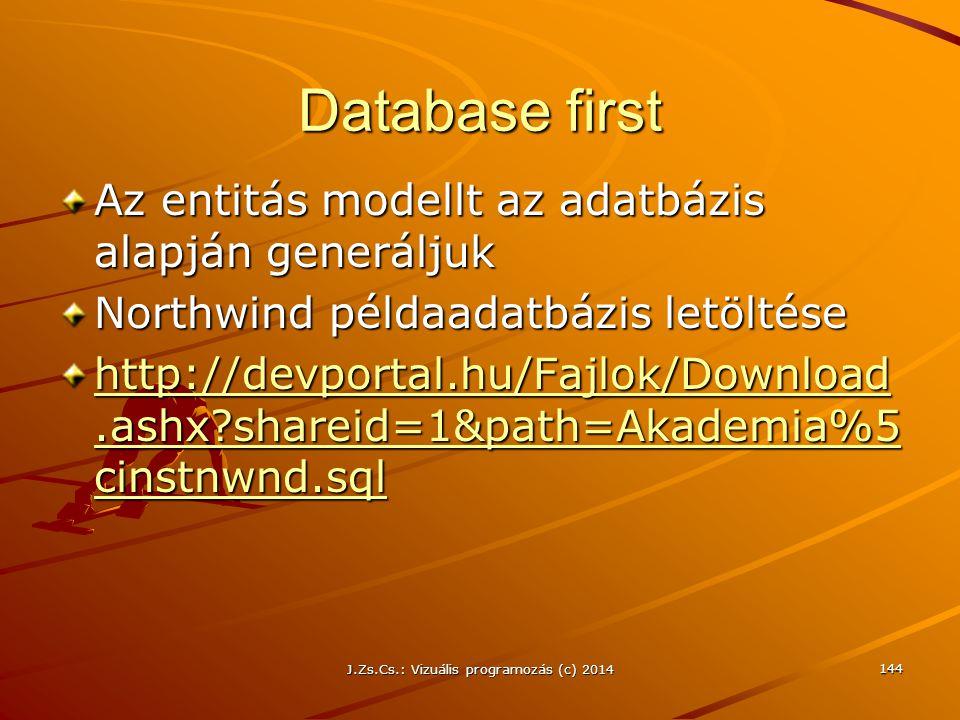 Database first Az entitás modellt az adatbázis alapján generáljuk Northwind példaadatbázis letöltése http://devportal.hu/Fajlok/Download.ashx?shareid=