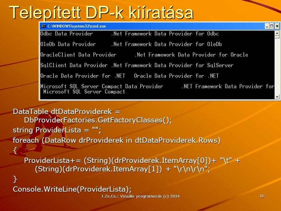 J.Zs.Cs.: Vizuális programozás (c) 2014 15 Telepített DP-k kiíratása DataTable dtDataProviderek = DbProviderFactories.GetFactoryClasses(); string Prov
