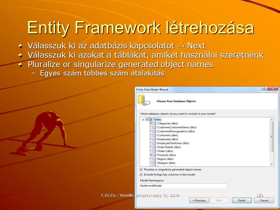 Entity Framework létrehozása Válasszuk ki az adatbázis kapcsolatot → Next Válasszuk ki azokat a táblákat, amiket használni szeretnénk Pluralize or sin