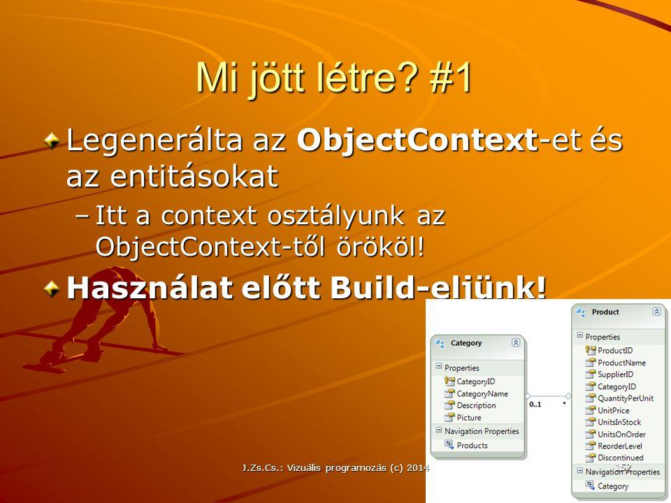 Mi jött létre? #1 Legenerálta az ObjectContext-et és az entitásokat –Itt a context osztályunk az ObjectContext-től örököl! Használat előtt Build-eljün