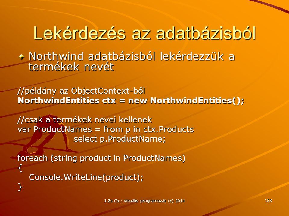 Lekérdezés az adatbázisból Northwind adatbázisból lekérdezzük a termékek nevét //példány az ObjectContext-ből NorthwindEntities ctx = new NorthwindEnt