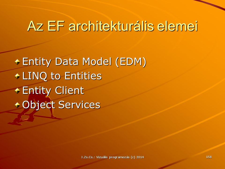 Az EF architekturális elemei Entity Data Model (EDM) LINQ to Entities Entity Client Object Services J.Zs.Cs.: Vizuális programozás (c) 2014 158