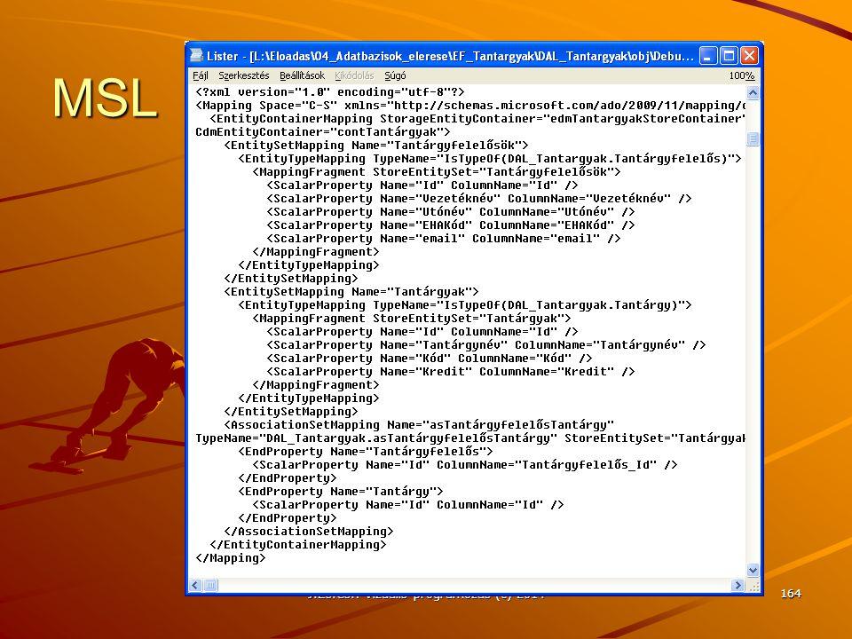 MSL J.Zs.Cs.: Vizuális programozás (c) 2014 164