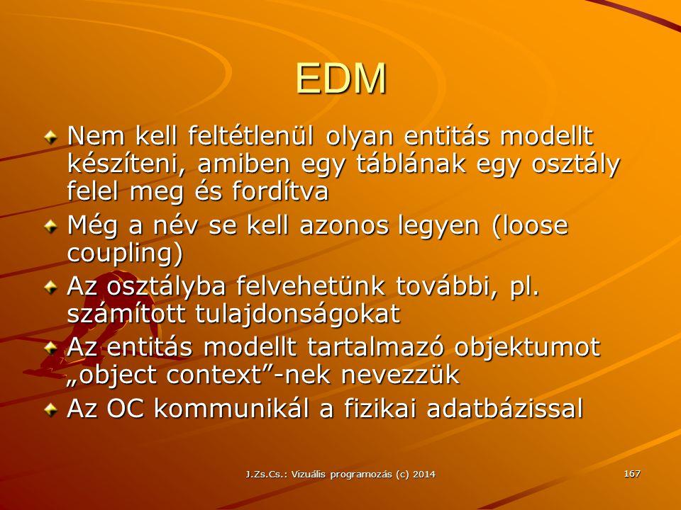 EDM Nem kell feltétlenül olyan entitás modellt készíteni, amiben egy táblának egy osztály felel meg és fordítva Még a név se kell azonos legyen (loose