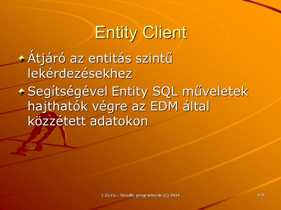 Entity Client Átjáró az entitás szintű lekérdezésekhez Segítségével Entity SQL műveletek hajthatók végre az EDM által közzétett adatokon J.Zs.Cs.: Viz