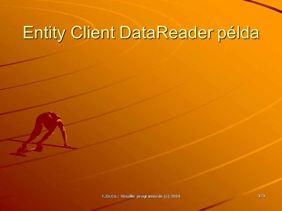 Entity Client DataReader példa J.Zs.Cs.: Vizuális programozás (c) 2014 171