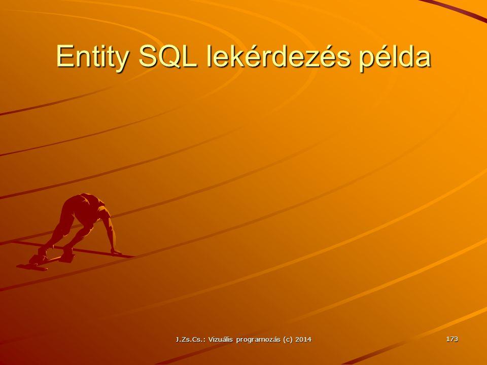 Entity SQL lekérdezés példa J.Zs.Cs.: Vizuális programozás (c) 2014 173