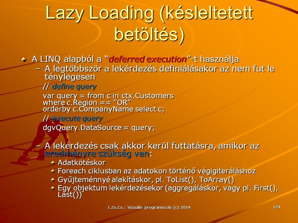 """A LINQ alapból a """"deferred execution""""-t használja –A legtöbbször a lekérdezés definiálásakor az nem fut le ténylegesen // define query var query = fro"""