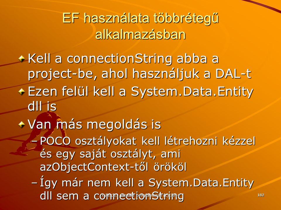 EF használata többrétegű alkalmazásban Kell a connectionString abba a project-be, ahol használjuk a DAL-t Ezen felül kell a System.Data.Entity dll is