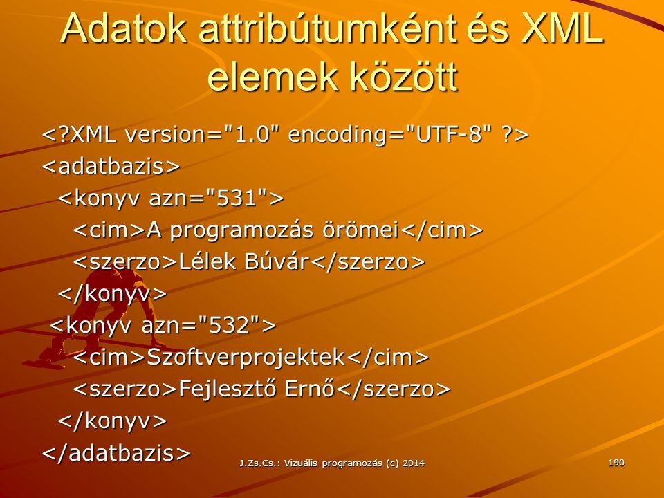 J.Zs.Cs.: Vizuális programozás (c) 2014 Adatok attribútumként és XML elemek között <adatbazis> A programozás örömei A programozás örömei Lélek Búvár L