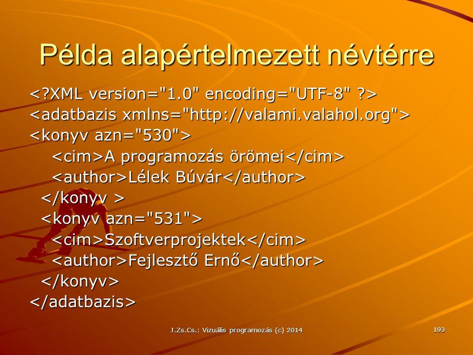 J.Zs.Cs.: Vizuális programozás (c) 2014 Példa alapértelmezett névtérre A programozás örömei A programozás örömei Lélek Búvár Lélek Búvár Szoftverproje