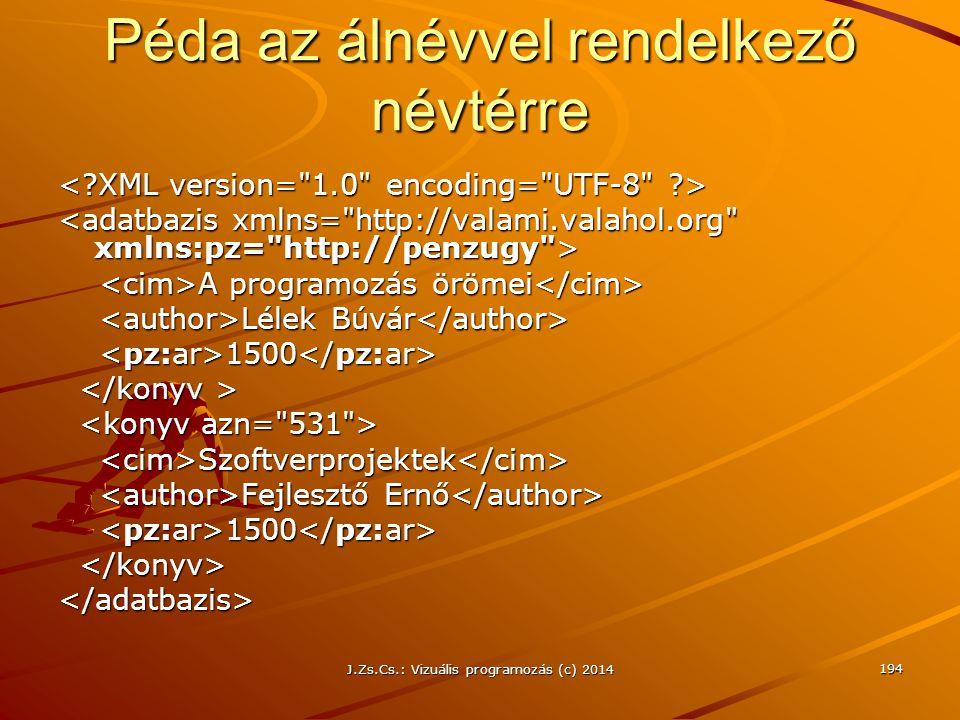 J.Zs.Cs.: Vizuális programozás (c) 2014 Péda az álnévvel rendelkező névtérre A programozás örömei A programozás örömei Lélek Búvár Lélek Búvár 1500 15