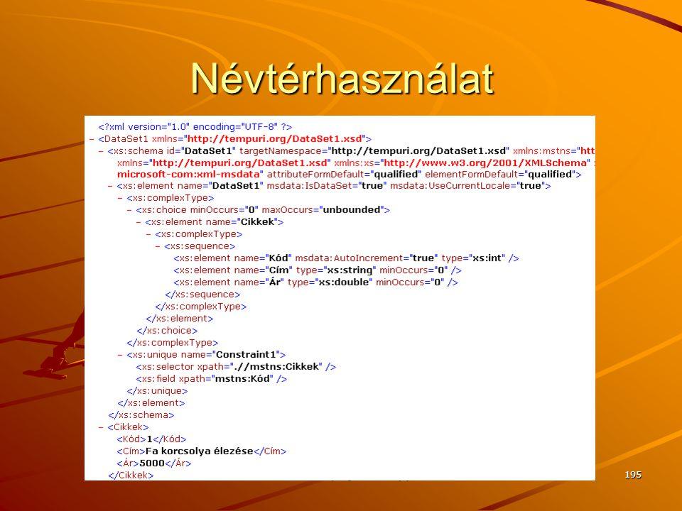 J.Zs.Cs.: Vizuális programozás (c) 2014 J.Zs.Cs.: Vizuális programozás (c) 2010 195 Névtérhasználat