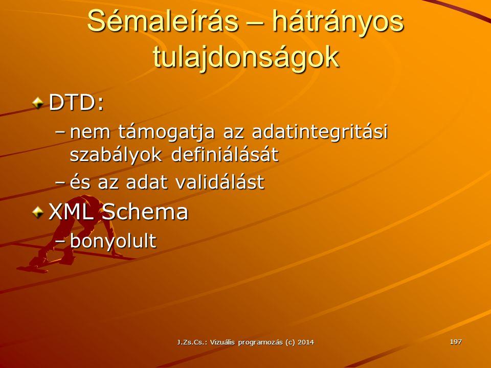 J.Zs.Cs.: Vizuális programozás (c) 2014 197 Sémaleírás – hátrányos tulajdonságok DTD: –nem támogatja az adatintegritási szabályok definiálását –és az
