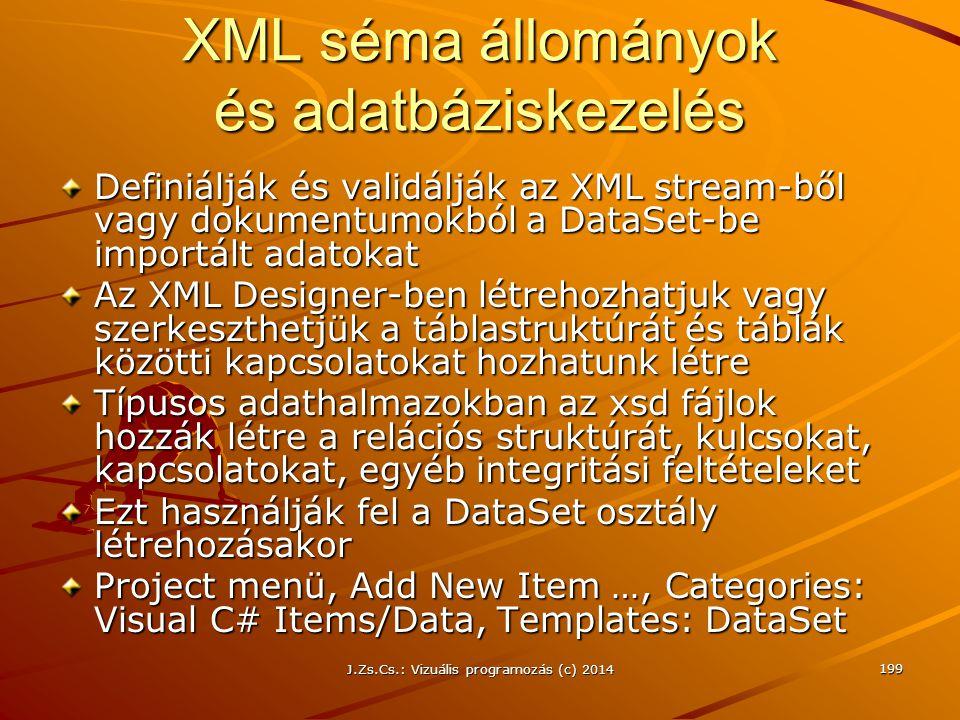 J.Zs.Cs.: Vizuális programozás (c) 2014 199 XML séma állományok és adatbáziskezelés Definiálják és validálják az XML stream-ből vagy dokumentumokból a
