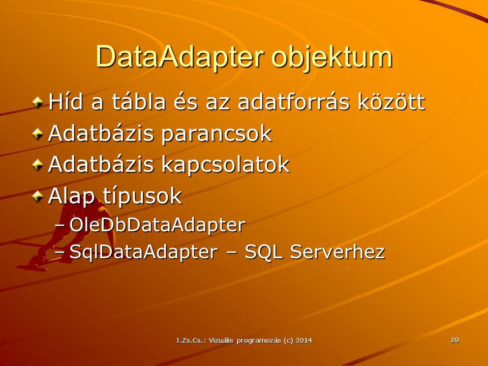 J.Zs.Cs.: Vizuális programozás (c) 2014 20 DataAdapter objektum Híd a tábla és az adatforrás között Adatbázis parancsok Adatbázis kapcsolatok Alap típ