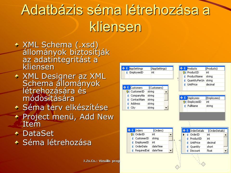 J.Zs.Cs.: Vizuális programozás (c) 2014 J.Zs.Cs.: Vizuális programozás (c) 2010 200 Adatbázis séma létrehozása a kliensen XML Schema (.xsd) állományok