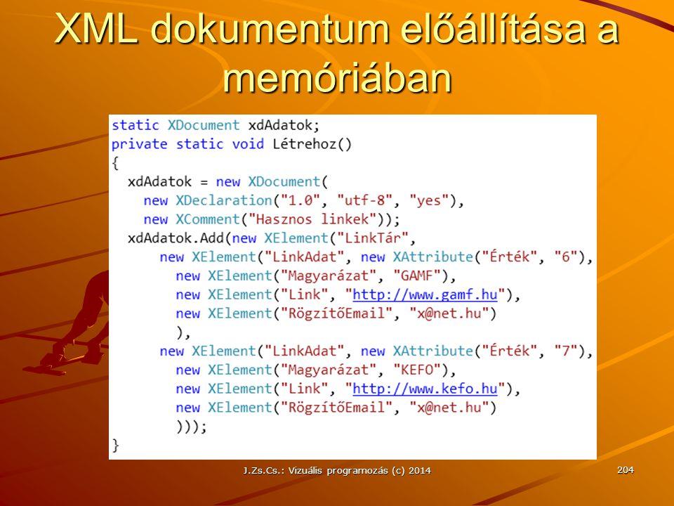 XML dokumentum előállítása a memóriában J.Zs.Cs.: Vizuális programozás (c) 2014 204